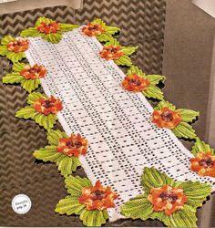 Caminho De Mesa Em Crochê 12 Flores - CROCHE COM RECEITAS