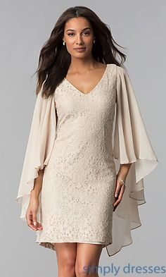 Caped Champagne Short Lace Mother-of-the-Bride Dress. Champagne GownShort  Wedding Guest DressesLace ... b653665153b3