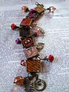 "A little bit of this and a little bit of that...put it all together and you get a sampler bracelet full of sweet little squares.  It reminds me of a cozy quilt.  This is a project I did for one of my new videos with Interweave.  It's called ""ReMixed Media: Making Custom Beads and Pendants with Wood and Acrylic."""