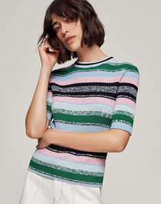 Women's Summer Knits | Shop Stripe Knit Rib Tee in multicolour from ME+EM