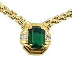 Vintage Nina Ricci Faux Emerald and Diamond Necklace