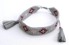 Loom Beaded Bracelet- love the tassle ends Loom Bracelet Patterns, Bead Loom Bracelets, Bead Loom Patterns, Bracelet Crafts, Unique Bracelets, Jewelry Bracelets, Bead Embroidery Patterns, Seed Bead Jewelry, Diy Jewelry