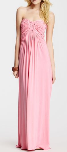 Woven Trim Strapless Maxi Dress