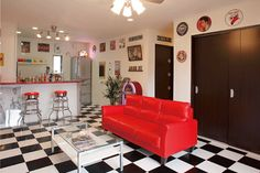 アメリカンインテリア3 Diner Aesthetic, Pool Table Room, American Interior, Retro Diner, Game Room Decor, Diy Home Decor, Sweet Home, Layout, Interior Design