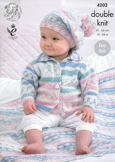 Babies' Cardigan, Blanket and Beret in King Cole Cherish DK (4202) | Deramores