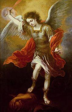 Bartolome Esteban Murillo - Saint Michael banishes the devil to the abyss, Saint Michael, St. Michael, Michael Gabriel, Angels Among Us, Angels And Demons, Archangel Prayers, Esteban Murillo, I Believe In Angels, Kingdom Of Heaven