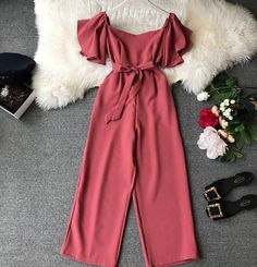 2019 Women Solid Short Sleeve Lace-Up Pocket Waist Wide Leg Jumpsuits Women Slash Neck Elegant Overalls Wide leg jumpsuits outfits 2020 Girls Fashion Clothes, Teen Fashion Outfits, Mode Outfits, Look Fashion, Girl Fashion, Girl Outfits, Summer Outfits, Fashion Dresses, Red Clothing