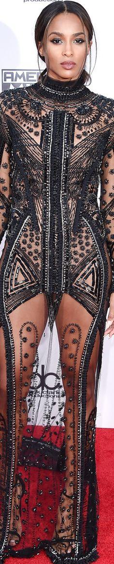 Ciara 2015 American Music Awards transparency #Dress Black