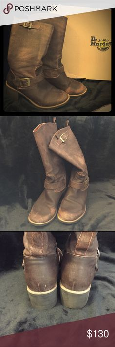 Dr. Martens DOCS Becca Boots Distressed Brown sz 8 Gorgeous, not your typical Docs, Dr. Martens Becca Boots. Size 8. Distressed brown. Some signs of wear. Soles are in excellent condition. These are soft, glove-like leather! Ships in original box. Dr. Martens Shoes Combat & Moto Boots
