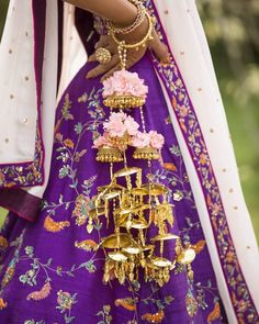 Purple Embroidered Bridal Mehendi Lehenga with gold kaleere. Mehendi Outfits, Bespoke Jewellery, Ivory Silk, Bridal Looks, Lehenga, Sarees, Indian Dresses, Types Of Fashion Styles, Bridal Jewelry