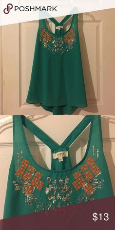 Green sequined top Green top with orange and silver sequins, bought from Pink Tumbleweed Boutique! umgee Tops Tank Tops
