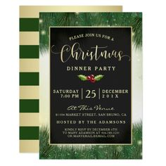 Modern Green & Gold Christmas Dinner Party Invites - Are you planning a party this holiday season? Fir Christmas Tree, Modern Christmas, Gold Christmas, Christmas Themes, Merry Christmas, Dinner Party Invitations, Christmas Party Invitations, Invites, Xmas Holidays