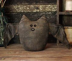 Primitive Halloween Bat Shelf Sitter, Halloween Decor, Bat Soft Sculpture, Primitive Handmade Bat on Etsy, $45.00