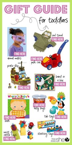 Gift Guide for Baby and Toddlers! #babygifts #toddlergifts #giftguide howdoesshe.com