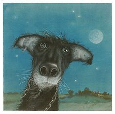 Crossing Black Shuck's Path by Kate Leiper - Great image. Love the nostrils. #dog #dogart
