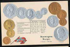 Norwegen  Norge  Ansichtskarte  Prägekarte  Münzen   Silber + Gold   Krone