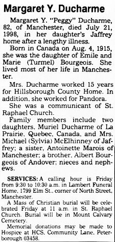 Transcription: Obituary for Margaret Ducharme (Peggy Ducharme). Filed in American, Burial, Canada, Canadian, Catholic, cemetery, Consumer, ... http://www.emptynestancestry.com/transcription-obituary-for-margaret-ducharme-peggy-ducharme/