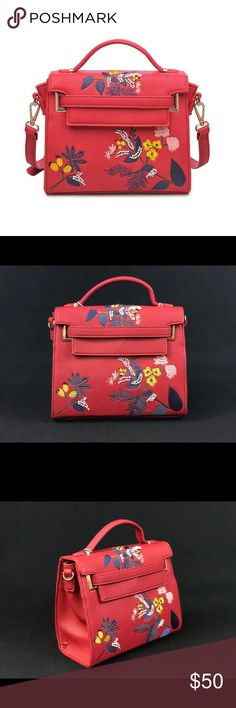 RED ELEGANT EMBROIDERED CROSSBODY HANDBAG URBAN EXPRESSIONS BAG . VERY GOOD QUALITY WITH BEADED DETAIL. NWT Urban Expressions Bags Crossbody Bags
