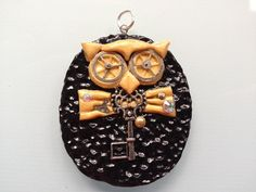 Steampunk Key Owl Pendant with Silver Chain by ConstantMindJewelry, $13.99