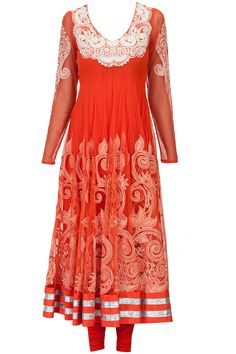 Orange with ivory embroidery anarkali set available only at Pernia's Pop-Up Shop.