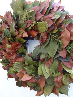 Autumn Wreath   Fall Wreath  Salal Wreath  Autumn Decor  Hand Crafted Wreath  Preserved Wreath  Elegant Wreath by donnahubbard on Etsy