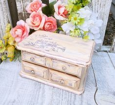 CHIC JEWELRY BOX  Vintage Shabby or Cottage by HuckleberryVntg, $39.00