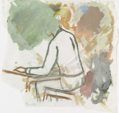 Untitled (Man at Table). Oil and pencil on cut-and-taped transparentized paper. The Judith Rothschild Foundation of Contemporary Drawings Moma, Artsy Fartsy, Painting & Drawing, Contemporary Art, Canvas, Drawings, Murals, Anxiety, Mixed Media