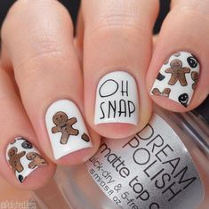 Winter Nail Designs: Gingerbread Christmas Nail Art - Nail Design Ideas, Gallery of Best Nail Designs Christmas Nail Art Designs, Holiday Nail Art, Winter Nail Designs, Winter Nail Art, Cute Nail Designs, Acrylic Nail Designs, Winter Nails, Christmas Holiday, Chrismas Nail Art