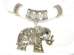 Necklace Scarf Necklace Elephant Pendant Scarf by coreringscarf, $12.49