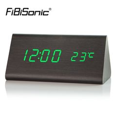 Special price FiBiSonic Wood Electronic Desk Clock Digital LED Alarm Clock, Sounds Control Wooden Table Clock with Temperature just only $16.19 with free shipping worldwide  #clocks Plese click on picture to see our special price for you