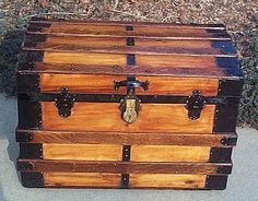 Antique steamer trunk. Have one a little larger than this. Saving this until my Princess wants it as it was her great grandfathers.