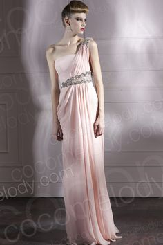 Fancy Sheath-Column One Shoulder Floor Length Chiffon Pink Side Zipper Wedding Guest Dress with Draped and Crystals COSF1407A $109.00 evening dress, evening dress, evening dress, evening dress, evening dress, evening dress