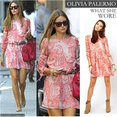 Olivia Palermo in pink and white paisley print dress on August 14 on the street in New York - Want Her Style