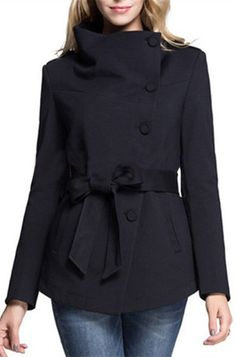 Trendy Stand-Up Collar Long Sleeve Button Design Belted Women's Coat