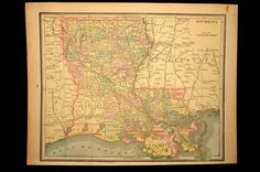 Antique Map Louisiana State 1800s Original 1890
