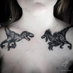 Black Ink Velociraptor Tattoos by felipecesar.me