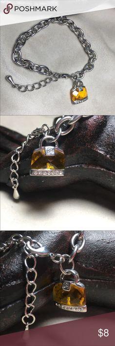 "4 for $20 -Handbag charm rhinestone chain bracelet Lovely charm bracelet. Chain measures 9.5"" long and charm measures .75"" wide. Good condition, pre-worn so a little wear. Vintage Jewelry Bracelets"