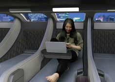 Pod Train Inspired by those Japanese capsule hotels, the JIYUKŪKAN high speed rail system packs personal pod modules in which travelers can sleep, relax or just hang out on the 500-800 mile journey. Like the capsule hotels, each train packs a number of showers so users are well-rested and fresh-faced when they arrive at their destination. Passengers can get on with their day upon arriving without the lag feeling of lost time!