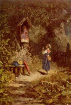 Carl Spitzweg (1808–1885): Niña rezando en el bosque.