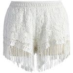 Chicwish Fringed Lace Crochet Shorts in White