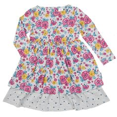 Polarn O. Pyret Scandi Floral Girls Dress. Colourful Kids Clothes. Flowers and dots.