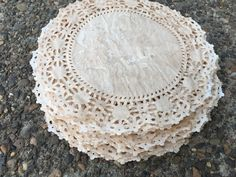 20 10 Inch Hand Stained Doilies.Vintage Wedding. Rustic. Old Fashioned. Doily. Shabby Chic. Wedding Tables. Embellishment. Distressed. by EternalJournals on Etsy