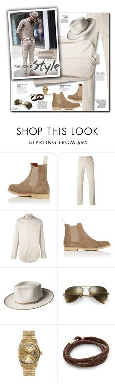"""""""Menswear Awesome Style"""" by gracekathryn ❤ liked on Polyvore featuring Common Projects, PT01 Pantaloni Torino, Dsquared2, Bailey of Hollywood, Ray-Ban, Rolex, MIANSAI, men's fashion, menswear and mens"""