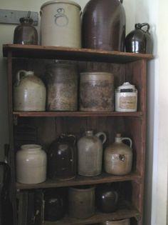 Primitive Gathering...of old crocks & stoneware jugs.