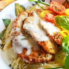 Parmesan Crusted Chicken with Herb Butter Sauce-  my most cooked and most requested recipe!