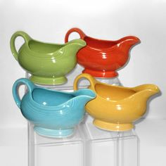 Fiesta Sauce boats, Turquoise, Yellow, Chartreuse, Red