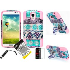 Amazon.com: 3 items Combo: ITUFFY(TM) LCD Screen Protector Film + Mini Stylus Pen + 2 tone Design Dual Layer KickStand Tuff Impact Armor Hybrid Soft Rubber Silicone Cover Hard Snap On Plastic Case for LG LS740 Volt F90 (Boost Mobile/Virgin Mobile) (Aztec Flower - Light Pink): Cell Phones & Accessories