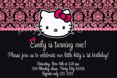 Here is a beautiful personalized birthday invitation card as a digital file Personalized with your party details Emailed to you as a high quality jpeg file Print as many as Hello Kitty Shop, Hello Kitty Birthday, Little Girl Birthday, Birthday Party Invitations, Birthday Parties, Parties Kids, Birthday Ideas, Hello Kitty Invitations, Printable Invitations