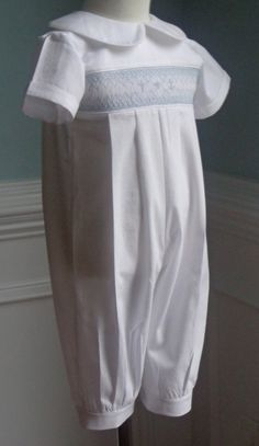 Long Pants Baby Boy Baptism Hand Smocked outfit by thebabyduck