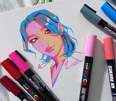 Posca Marker, Marker Art, Posca Art, Watercolor Art Lessons, Different Art Styles, Arte Sketchbook, Inspirational Artwork, Creative Artwork, Cartoon Art Styles